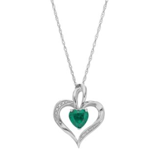 Sterling Silver Simulated Emerald Heart Pendant Necklace