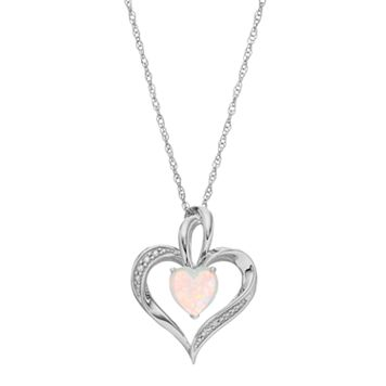 Sterling Silver Lab-Created White Opal Heart Pendant Necklace
