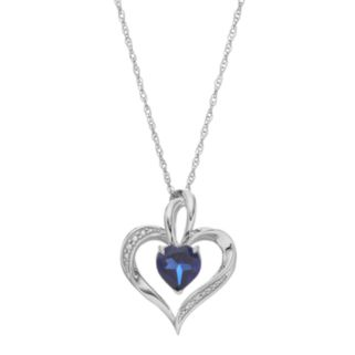 Sterling Silver Lab-Created Sapphire Heart Pendant Necklace