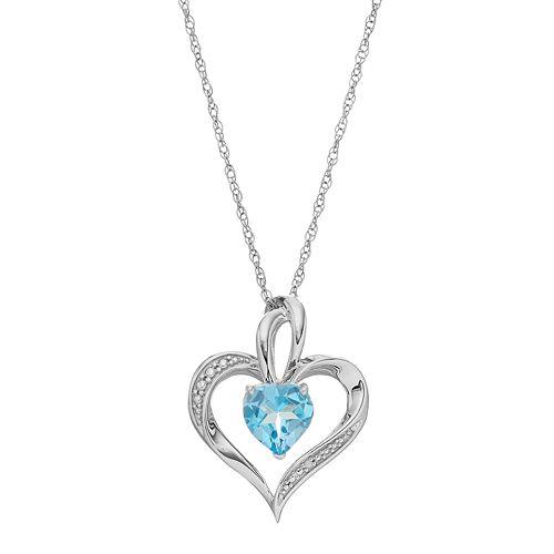 Sterling Silver Blue Topaz Heart Pendant Necklace
