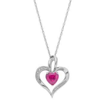 Sterling Silver Lab-Created Pink Sapphire Heart Pendant Necklace