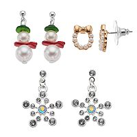 Snowman, Wreath & Snowflake Nickel Free Drop Earring Set