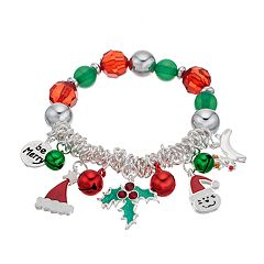 'Be Merry,' Holly, Santa Hat & Reindeer Charm Beaded Stretch Bracelet