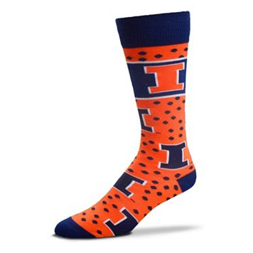 Adult For Bare Feet Illinois Fighting Illini Dot Band Crew Socks