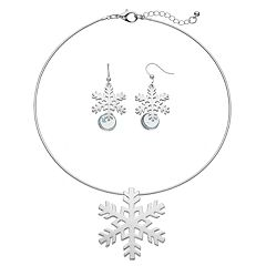 Snowflake Pendant Necklace & Drop Earring Set