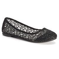 SO® Women's Lace Ballet Flats