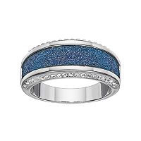 Brilliance Silver Plated Glitter Striped Ring with Swarovski Crystals