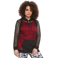madden NYC Juniors' Plus Size Sheer Mesh Hoodie
