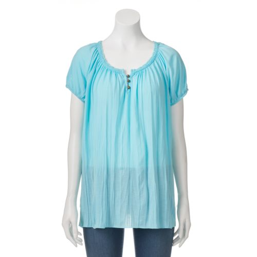 Women's French Laundry Solid Crochet Tee