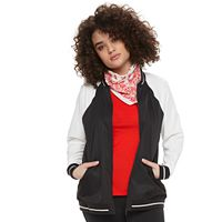 madden NYC Juniors' Plus Size Colorblock Bomber Jacket