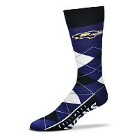 Adult For Bare Feet Baltimore Ravens Argyle Line Up Crew Socks