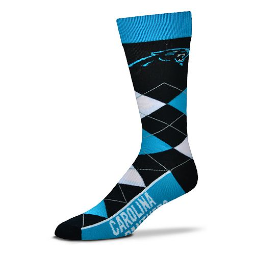 Adult For Bare Feet Carolina Panthers Argyle Line Up Crew Socks