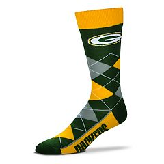 Adult For Bare Feet Green Bay Packers Argyle Line Up Crew Socks