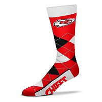 Adult For Bare Feet Kansas City Chiefs Argyle Line Up Crew Socks