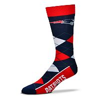 Adult For Bare Feet New England Patriots Argyle Line Up Crew Socks