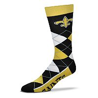 Adult For Bare Feet New Orleans Saints Argyle Line Up Crew Socks