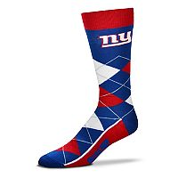 Adult For Bare Feet New York Giants Argyle Line Up Crew Socks