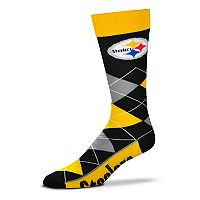 Adult For Bare Feet Pittsburgh Steelers Argyle Line Up Crew Socks