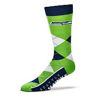 Adult For Bare Feet Seattle Seahawks Argyle Line Up Crew Socks
