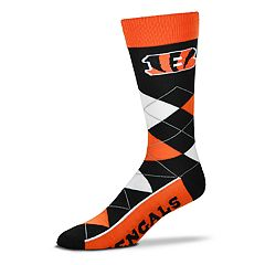 Adult For Bare Feet Cincinnati Bengals Argyle Line Up Crew Socks