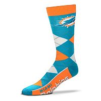 Adult For Bare Feet Miami Dolphins Argyle Line Up Crew Socks