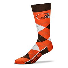 Adult For Bare Feet Cleveland Browns Argyle Line Up Crew Socks