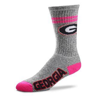 Adult For Bare Feet Georgia Bulldogs Two Stripe Crew Socks