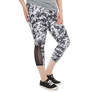 madden NYC Juniors' Plus Size Abstract Mesh Capris