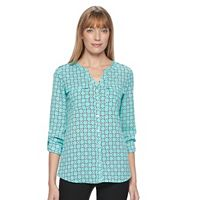 Women's Croft & Barrow® Crepe Button Down Top