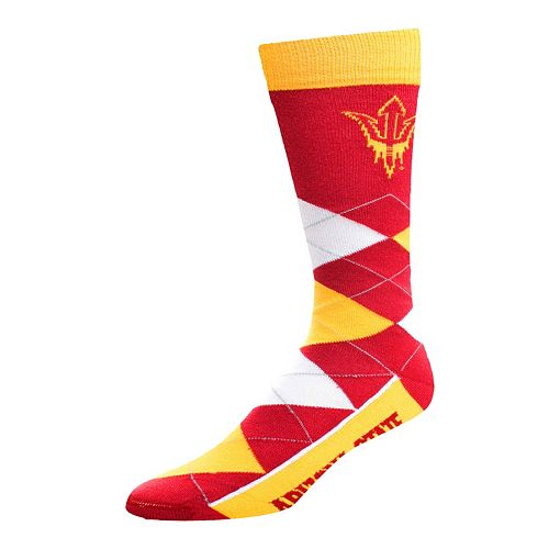 Adult For Bare Feet Arizona State Sun Devils Argyle Line Up Crew Socks