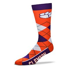 Adult For Bare Feet Clemson Tigers Argyle Line Up Crew Socks