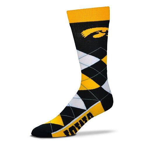 Adult For Bare Feet Iowa Hawkeyes Argyle Line Up Crew Socks