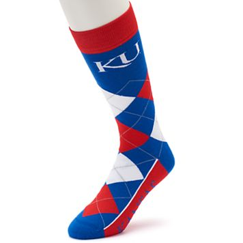 Adult For Bare Feet Kansas Jayhawks Argyle Line Up Crew Socks