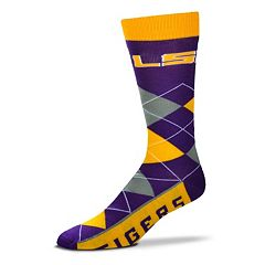 Adult For Bare Feet LSU Tigers Argyle Line Up Crew Socks