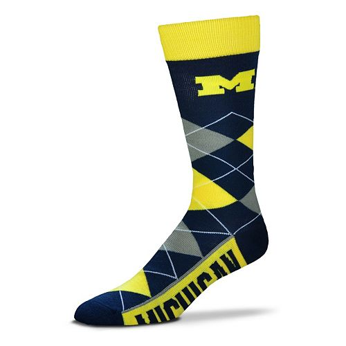 Adult For Bare Feet Michigan Wolverines Argyle Line Up Crew Socks