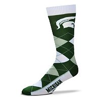 Adult For Bare Feet Michigan State Spartans Argyle Line Up Crew Socks