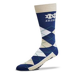 Adult For Bare Feet Notre Dame Fighting Irish Argyle Line Up Crew Socks