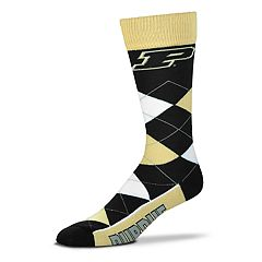 Adult For Bare Feet Purdue Boilermakers Argyle Line Up Crew Socks