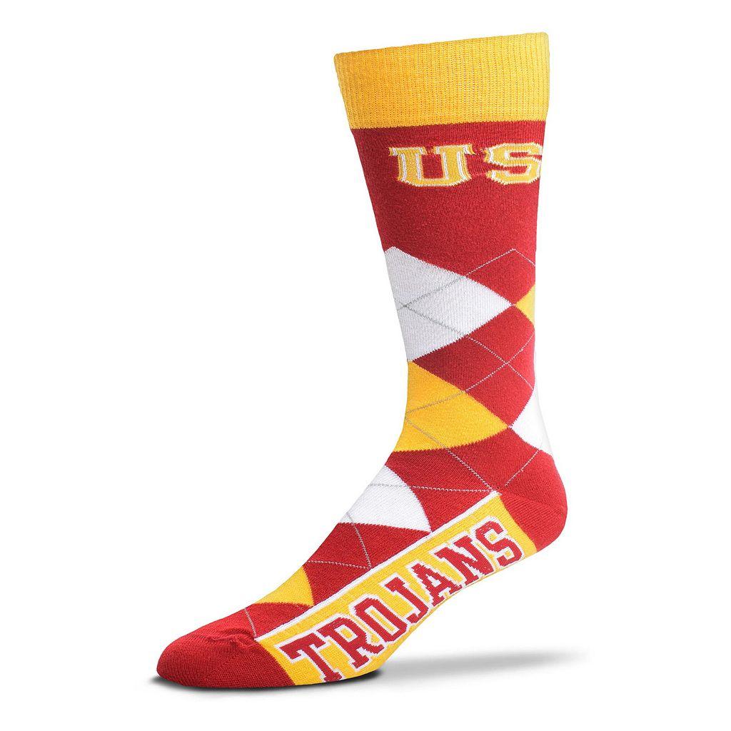 Adult For Bare Feet USC Trojans Argyle Line Up Crew Socks