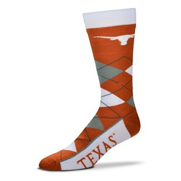 Adult For Bare Feet Texas Longhorns Argyle Line Up Crew Socks
