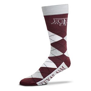 Adult For Bare Feet Texas A&M Aggies Argyle Line Up Crew Socks