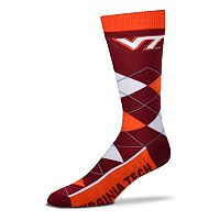 Adult For Bare Feet Virginia Tech Hokies Argyle Line Up Crew Socks