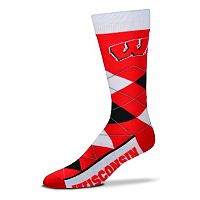 Adult For Bare Feet Wisconsin Badgers Argyle Line Up Crew Socks