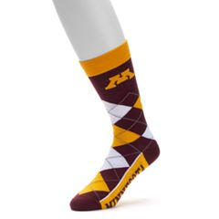 Adult For Bare Feet Minnesota Golden Gophers Argyle Line Up Crew Socks