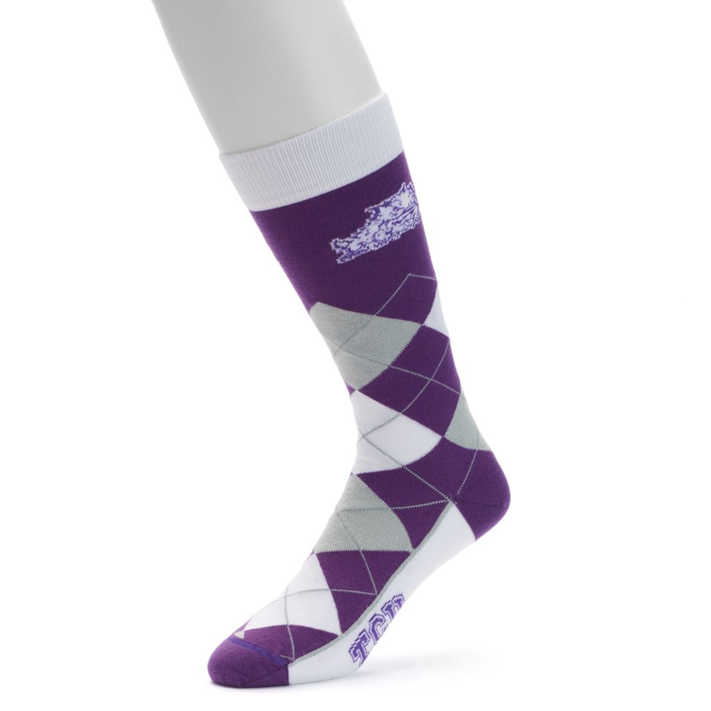 Adult For Bare Feet TCU Horned Frogs Argyle Line Up Crew Socks