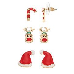 Santa Hat, Reindeer & Candy Cane Earring Set