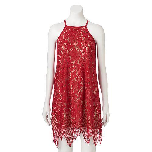 cf796d25b Juniors' Love, Fire High-Neck Lace Dress