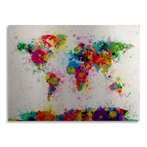 "Trademark Fine Art ""Paint World Map"" Floating Brushed Aluminum Wall Art"