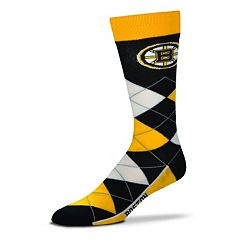 Adult For Bare Feet Boston Bruins Argyle Line Up Crew Socks