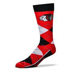Adult For Bare Feet Chicago Blackhawks Argyle Line Up Crew Socks